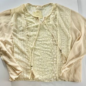Anthropologie A'reve Cream Lace Sheer Blouse MED